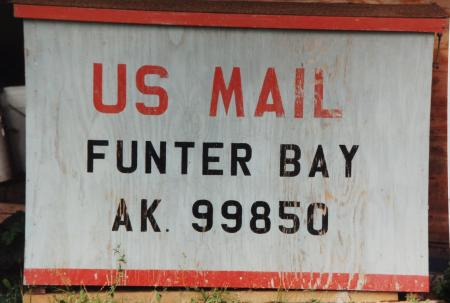 The mail box at Funter Bay. Mail came once a week via seaplane when I was growing up.