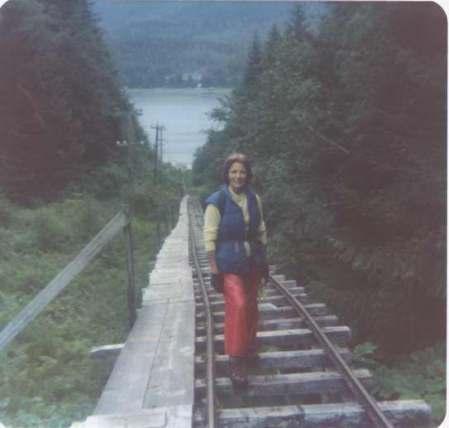 Willette Janes on the Salmon Creek Tram Railway , c. 1975. Image courtesy of the Juneau-Douglas City Museum, 2006.06.41.
