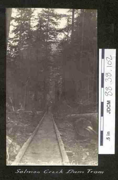 Salmon Creek Dam Trail, c. 1913. Image courtesy of the Juneau-Douglas City Museum, 88.38.102.