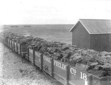 Carloads of lignite at Homer after three year' exposure to th...
