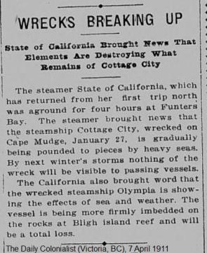 Daily Colonialist - City of California Aground at Funters Bay